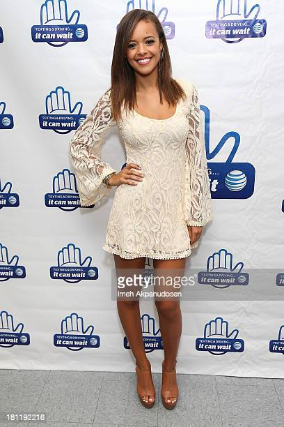 Singer Aubrey Cleland attends the 'It Can Wait Drive 4 Pledges Day' an ATT campaign with students of Weingart East Los Angeles YMCA to get residents...