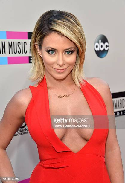 Singer Aubrey O'Day attends 2013 American Music Awards at Nokia Theatre LA Live on November 24 2013 in Los Angeles California