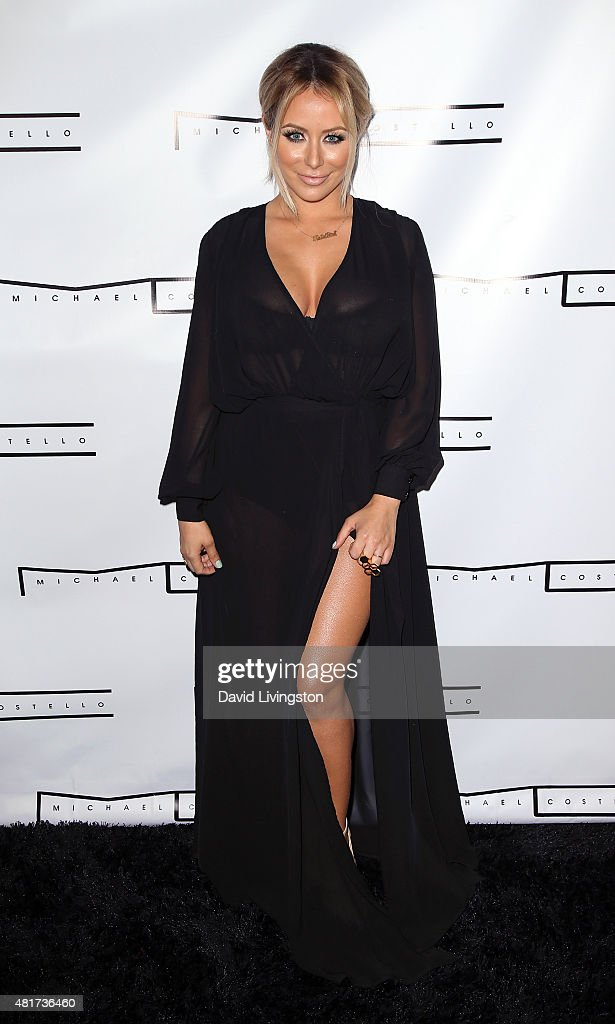 Singer Aubrey O'Day attends the Michael Costello and Style PR Capsule Collection launch party on July 23, 2015 in Los Angeles, California.