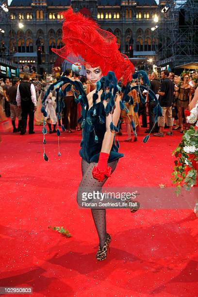 Singer Aura Dione attends the 18th Life Ball at the Town Hall on July 17 2010 in Vienna Austria The Life Ball is an annual charity ball raising funds...