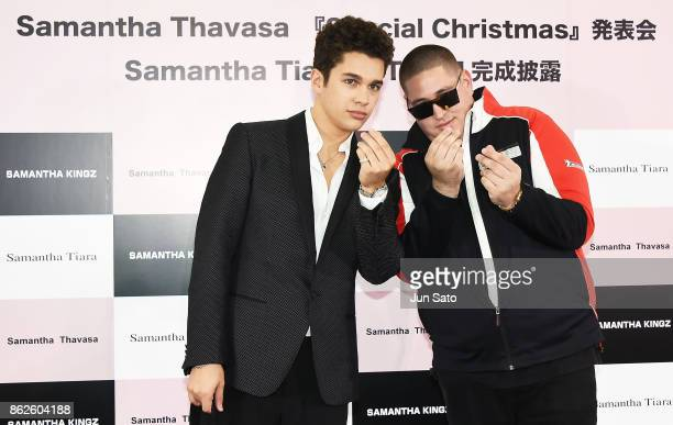 Singer Austin Mahone and Bobby Biscayne attend the Samantha Thavasa's Christmas TV Commercial Launch press event on October 18 2017 in Tokyo Japan