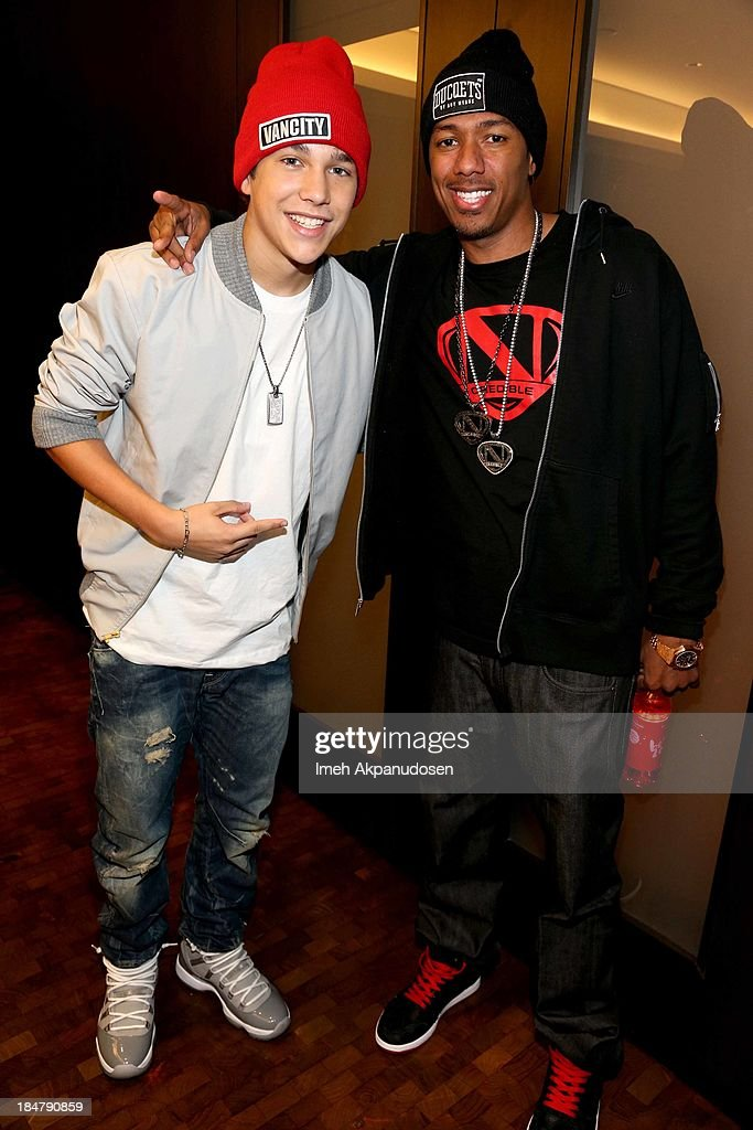Singer <a gi-track='captionPersonalityLinkClicked' href=/galleries/search?phrase=Austin+Mahone&family=editorial&specificpeople=9429678 ng-click='$event.stopPropagation()'>Austin Mahone</a> and <a gi-track='captionPersonalityLinkClicked' href=/galleries/search?phrase=Nick+Cannon&family=editorial&specificpeople=202208 ng-click='$event.stopPropagation()'>Nick Cannon</a> attend Aquafina Launch of FlavorSplash at Sony Pictures Studios on October 15, 2013 in Culver City, California.