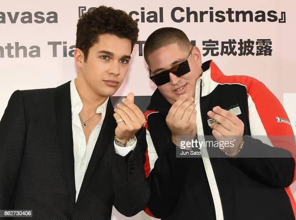 Singer Austin Mahone and rapper Bobby Biscayne attend the Samantha Thavasa's Christmas TV Commercial Launch press event on October 18 2017 in Tokyo...