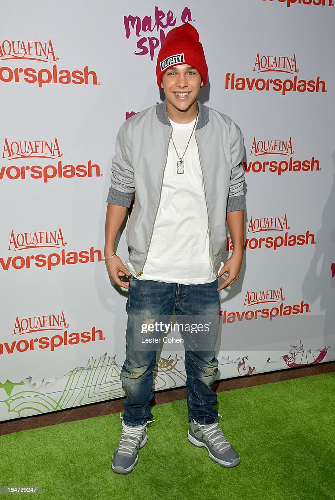 Singer <a gi-track='captionPersonalityLinkClicked' href=/galleries/search?phrase=Austin+Mahone&family=editorial&specificpeople=9429678 ng-click='$event.stopPropagation()'>Austin Mahone</a> attends Aquafina Launch of FlavorSplash at Sony Pictures Studios on October 15, 2013 in Culver City, California.