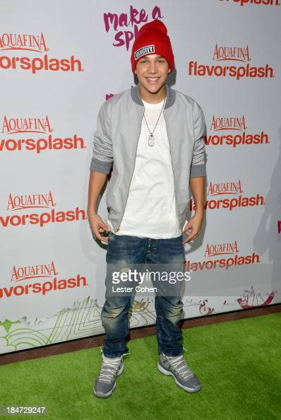 Singer Austin Mahone attends Aquafina Launch of FlavorSplash at Sony Pictures Studios on October 15 2013 in Culver City California