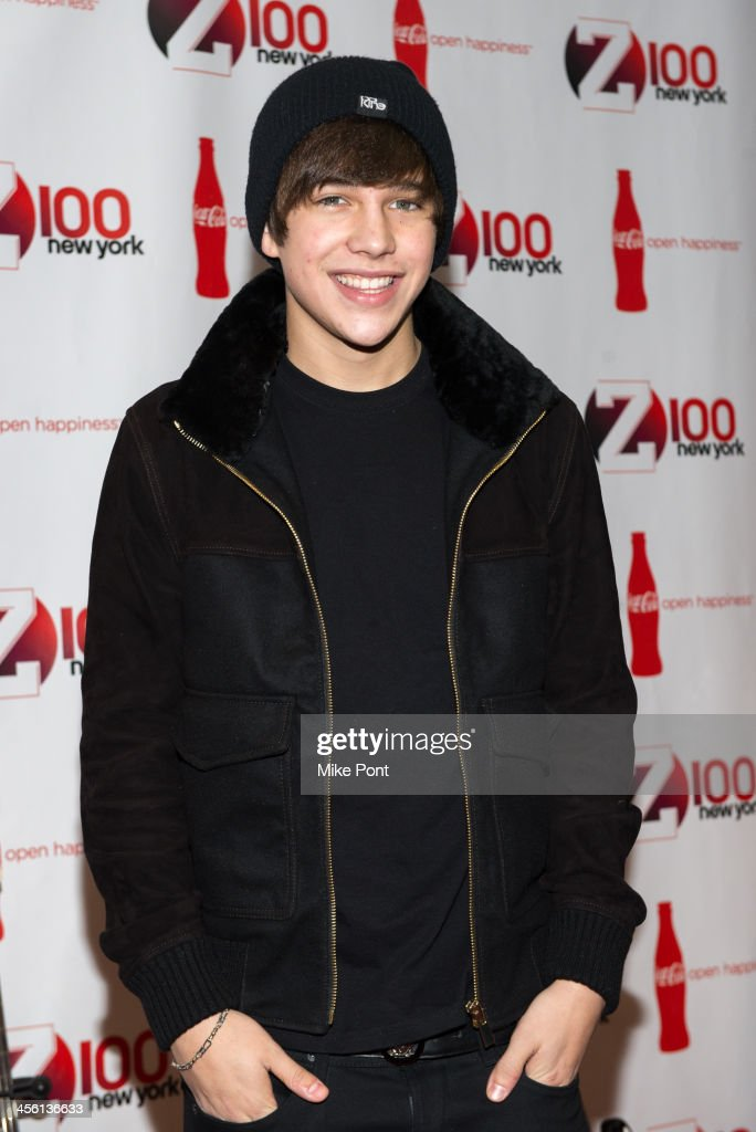 Singer <a gi-track='captionPersonalityLinkClicked' href=/galleries/search?phrase=Austin+Mahone&family=editorial&specificpeople=9429678 ng-click='$event.stopPropagation()'>Austin Mahone</a> attends the Z100 & Coca-Cola All Access Lounge at Hammerstein Ballroom on December 13, 2013 in New York City.