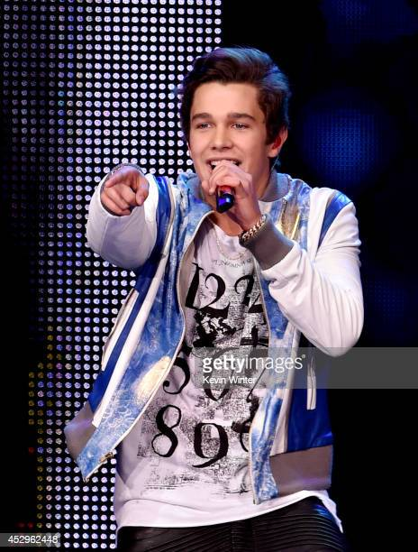 Singer Austin Mahone performs at the Nokia Theatre on July 30 2014 in Los Angeles California