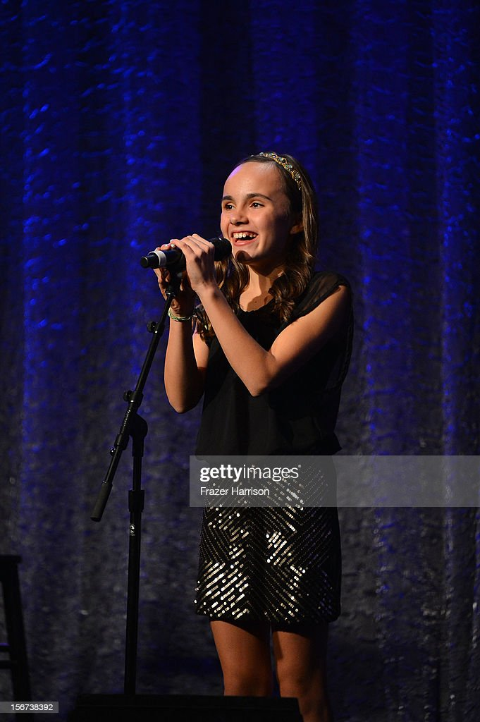 Singer Ava Cardoso-Smith performs at The Saban Free Clinic's Gala Honoring ABC Entertainment Group President Paul Lee And Bob Broder at The Beverly Hilton Hotel on November 19, 2012 in Beverly Hills, California.