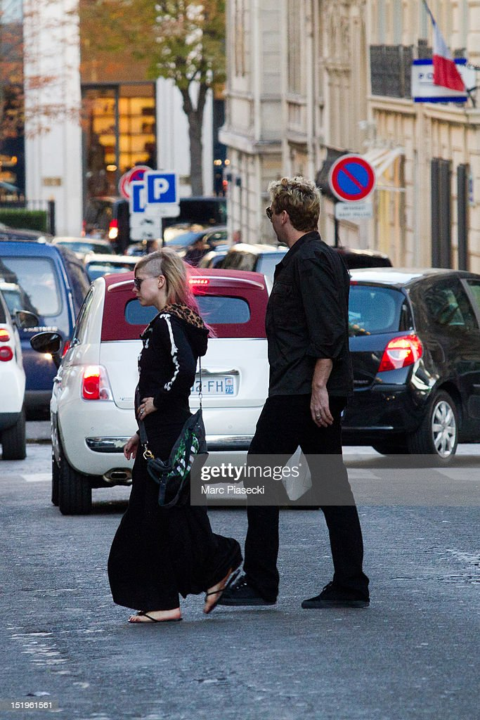 Singer Avril Lavigne and Chad Kroeger are seen strolling on September 13, 2012 in Paris, France.