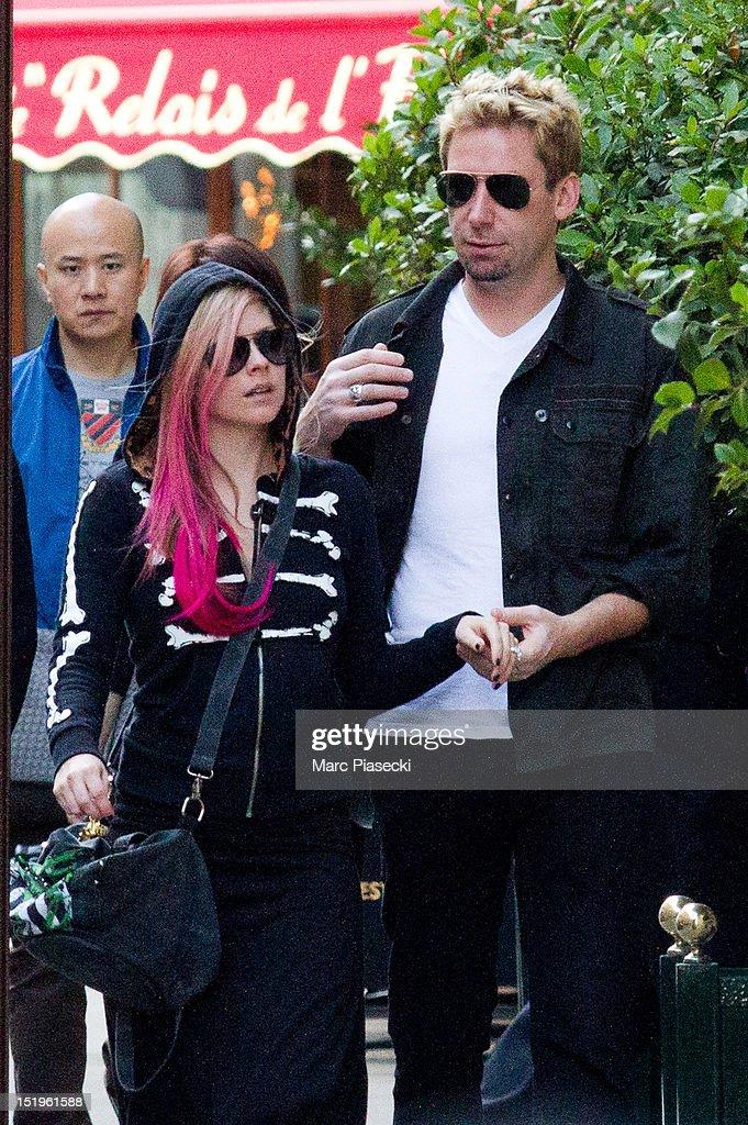 Singer Avril Lavigne and Chad Kroeger are seen strolling on September 13, 2012 in Paris, France.