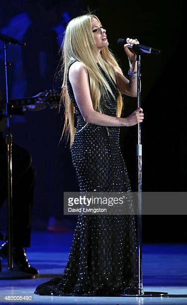 Singer Avril Lavigne attends the opening ceremony of the Special Olympics World Games Los Angeles 2015 at the Los Angeles Memorial Coliseum on July...
