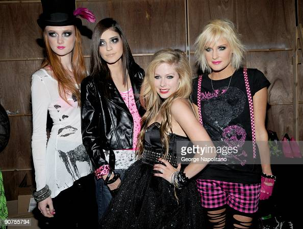 Singer Avril Lavigne is surrounded by her models at the STYLE360's presentation of Abbey Dawn by April Lavigne Spring 2010 at the Metropolitan...