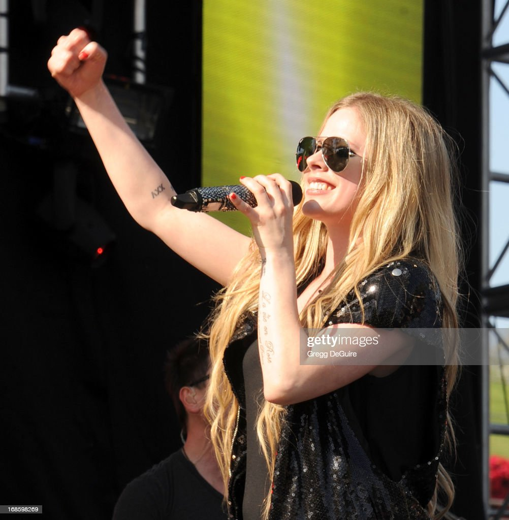 Singer <a gi-track='captionPersonalityLinkClicked' href=/galleries/search?phrase=Avril+Lavigne&family=editorial&specificpeople=171190 ng-click='$event.stopPropagation()'>Avril Lavigne</a> performs at 102.7 KIIS FM's Wango Tango at The Home Depot Center on May 11, 2013 in Carson, California.