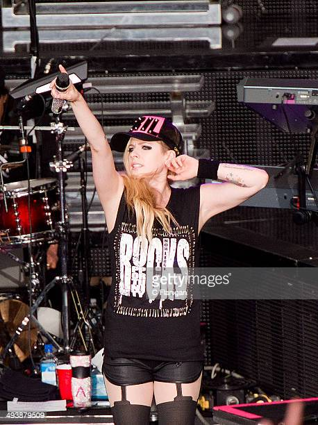 Singer Avril Lavigne performs during the 'In a World Like This' summer tour at Shoreline Amphitheatre on May 25 2014 in Mountain View California