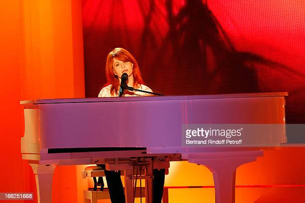 Singer Axelle Red attends 'Vivement Dimanche' French TV Show for the 80th anniversary of JeanPaul Belmondo at Pavillon Gabriel on April 10 2013 in...