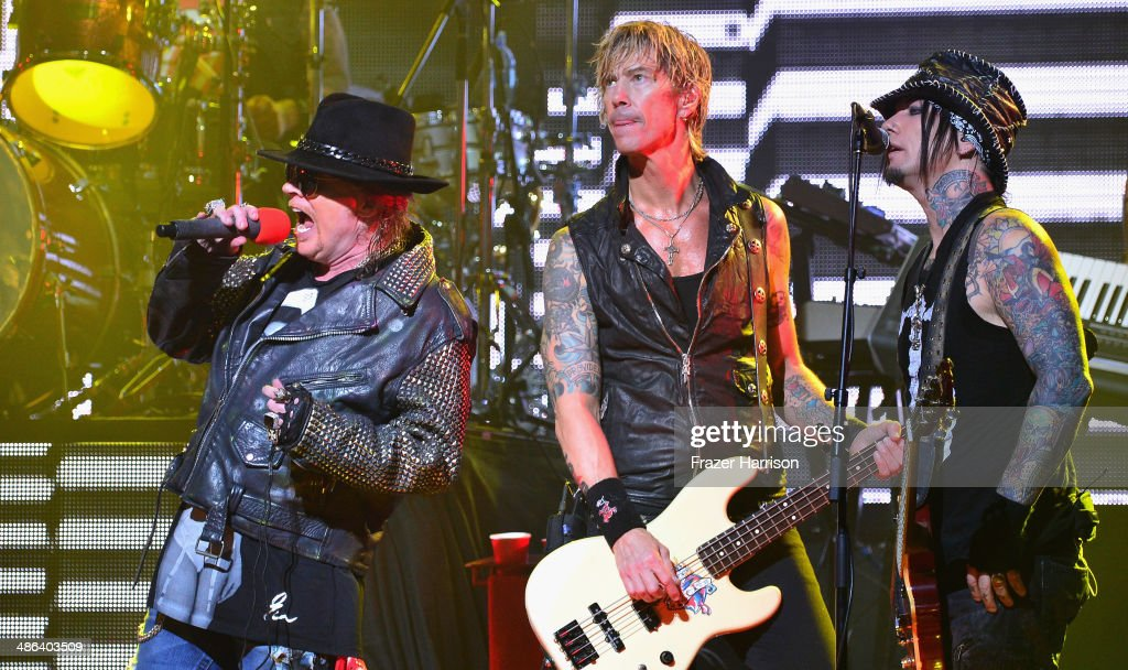 Singer Axl Rose, bassist Duff McKagan and guitarist DJ Ashba perform onstage at the 2014 Revolver Golden Gods Awards at Club Nokia on April 23, 2014 in Los Angeles, California.
