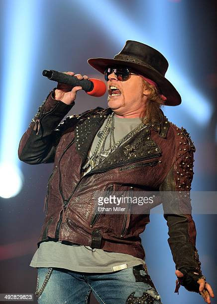 Singer Axl Rose of Guns N' Roses performs at The Joint inside the Hard Rock Hotel Casino during the opening night of the band's second residency...