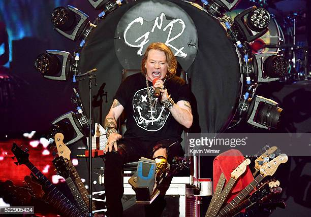 Singer Axl Rose of Guns N' Roses performs onstage during day 2 of the 2016 Coachella Valley Music Arts Festival Weekend 1 at the Empire Polo Club on...