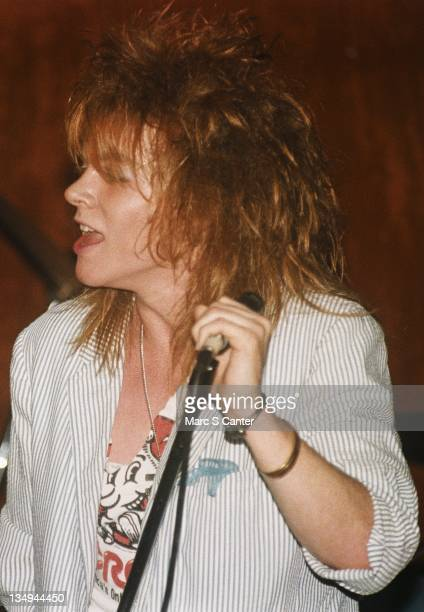 Singer Axl Rose of the rock group 'Hollywood Rose' performs at Madame Wong's on June 16 1984 in Los Angeles California