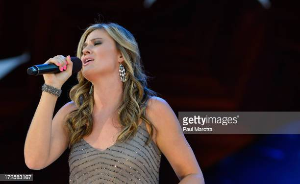 Singer Ayla Brown performs with Keith Lockhart and the Boston Pops at the Fourth Of July Firework Spectacular Rehearsals on July 3 2013 in Boston...