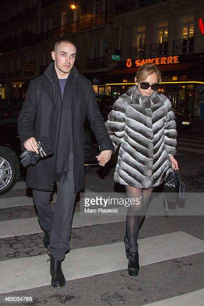 Singer Ayumi Hamasaki and boyfriend are seen arriving at the 'Maison de la Truffe' grocery store on January 25 2014 in Paris France