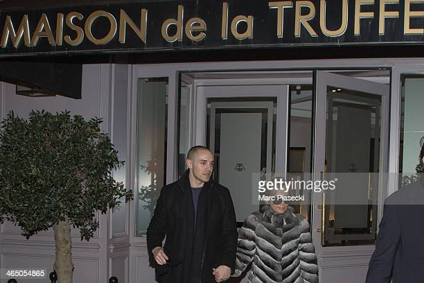 Singer Ayumi Hamasaki and boyfriend are seen leaving the 'Maison de la Truffe' grocery store on January 25 2014 in Paris France