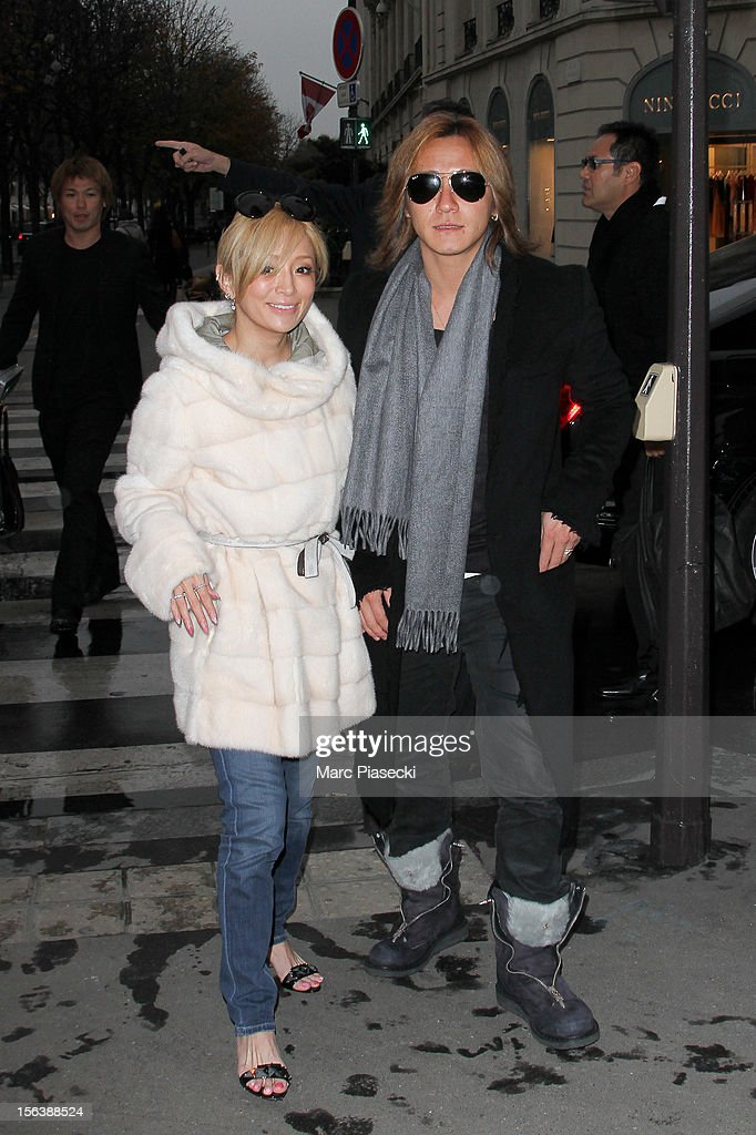 Singer <a gi-track='captionPersonalityLinkClicked' href=/galleries/search?phrase=Ayumi+Hamasaki&family=editorial&specificpeople=2371548 ng-click='$event.stopPropagation()'>Ayumi Hamasaki</a> and boyfriend Maro are seen arriving at the 'L'Avenue' restaurant on November 14, 2012 in Paris, France.