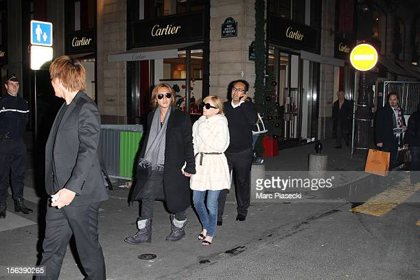 Singer Ayumi Hamasaki and boyfriend Maro are seen strolling in 'Rue du Faubourg Saint Honore' on November 14 2012 in Paris France