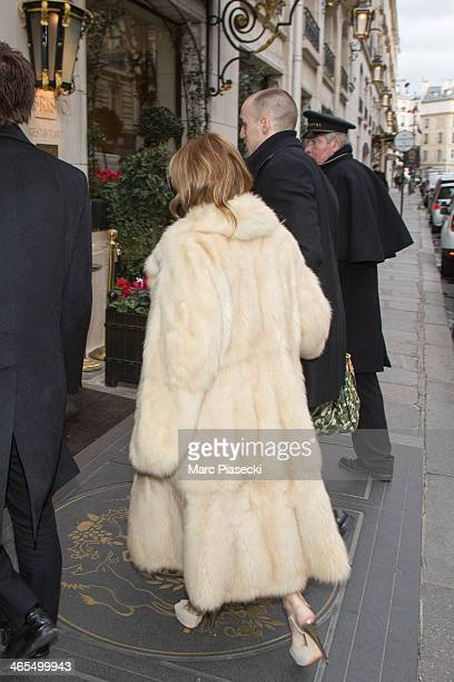 Singer Ayumi Hamasaki and her boyfriend arrive at the 'Meurice' hotel on January 27 2014 in Paris France