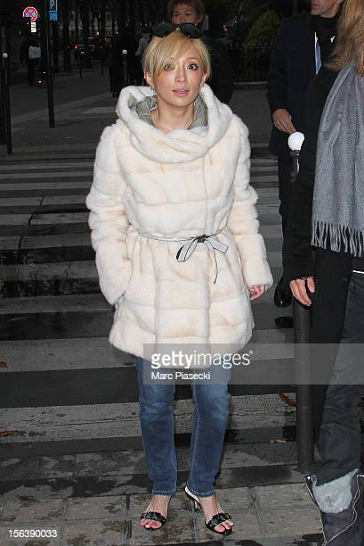 Singer Ayumi Hamasaki is seen arriving at the 'L'Avenue' restaurant on November 14 2012 in Paris France