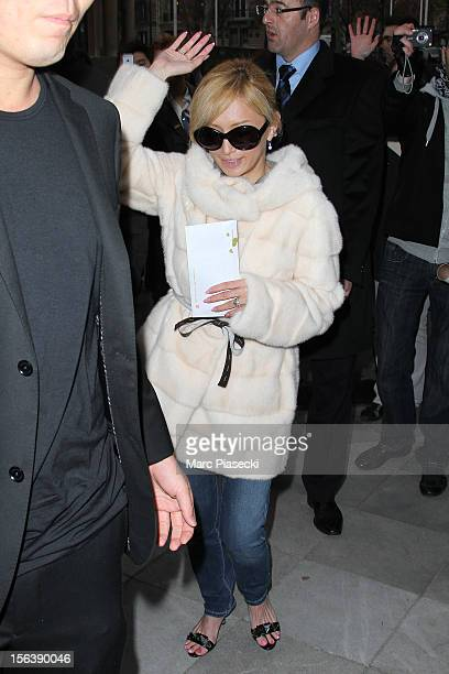 Singer Ayumi Hamasaki is seen leaving her hotel on November 14 2012 in Paris France
