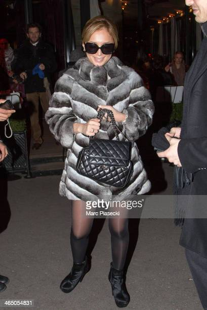 Singer Ayumi Hamasaki is seen leaving the 'L'Avenue 'restaurant on January 25 2014 in Paris France