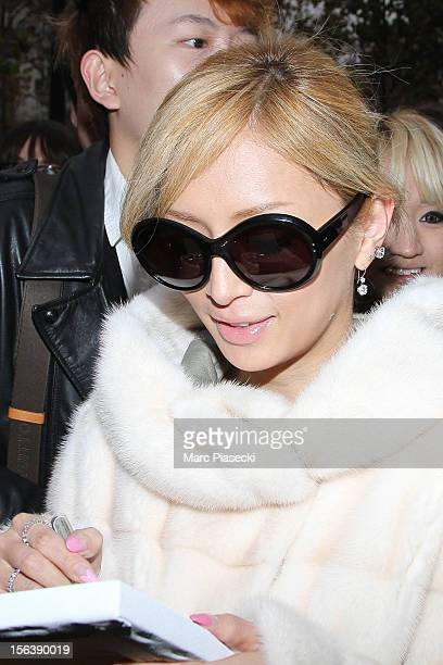 Singer Ayumi Hamasaki signs autographs as she is seen at her hotel on November 14 2012 in Paris France