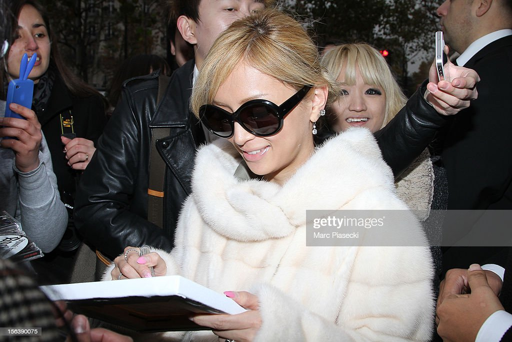 Singer Ayumi Hamasaki signs autographs as she is seen at her hotel on November 14, 2012 in Paris, France.