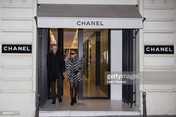 Singer Ayumi Hamaski and boyfriend are seen leaving the 'CHANEL' store on January 25 2014 in Paris France