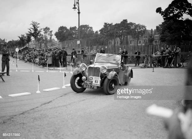 Singer B37 15 litre sports of FS Barnes competing in the South Wales Auto Club Welsh Rally 1937 Artist Bill Brunell Singer B37 15 litre Sports 1937...