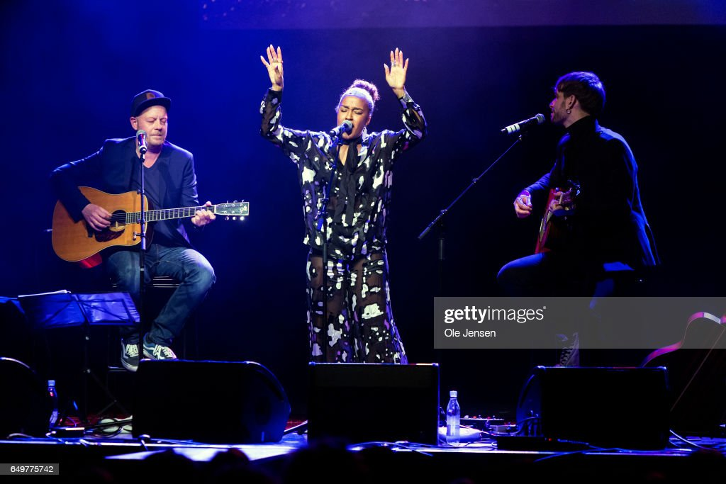 Singer Barbara Moleko and her band perform on stage at The International Women's Day celebration at Vega on March 8, 2017 in Copenhagen, Denmark.