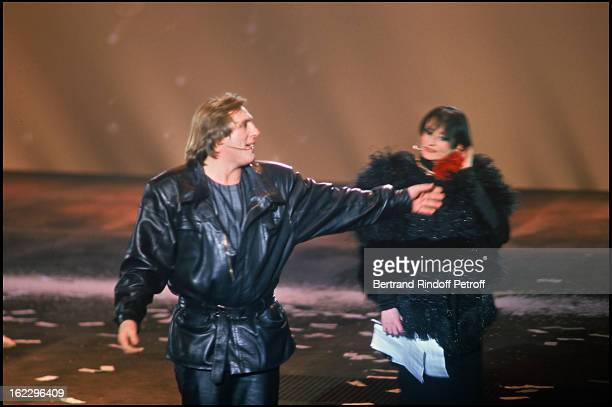Singer Barbara on stage with Gerard Depardieu 'Lily Passion' opening night at the 'Zenith' Paris