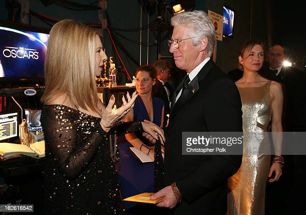 Singer Barbra Streisand and actor Richard Gere backstage during the Oscars held at the Dolby Theatre on February 24 2013 in Hollywood California