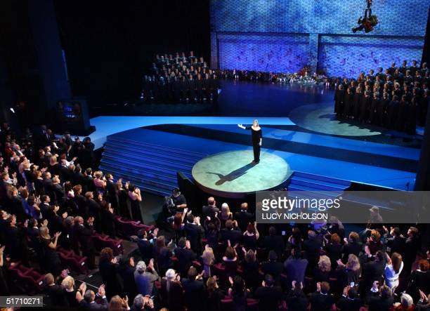 US singer Barbra Streisand is given a standing ovation after singing 'You'll Never Walk Alone' in front of a shrine for the victims of the 11...