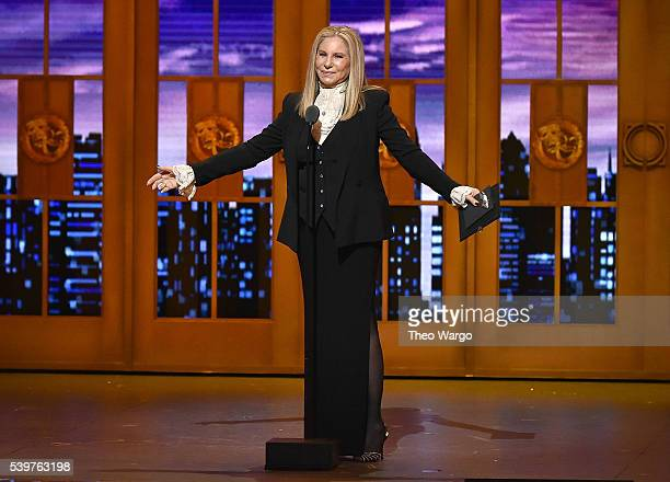 Singer Barbra Streisand speaks onstage during the 70th Annual Tony Awards at The Beacon Theatre on June 12 2016 in New York City
