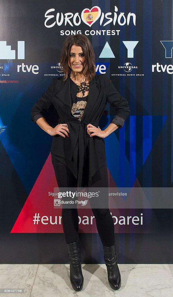 Singer Barei attends Eurovision accoustic concert photocall at Palacio de la Prensa on April 29, 2016 in Madrid, Spain.