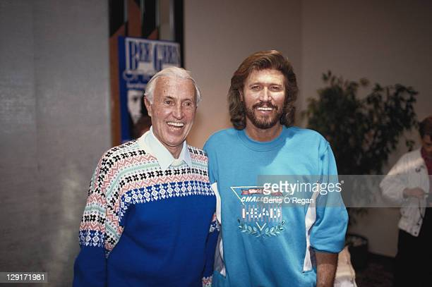 Singer Barry Gibb of the Bee Gees with his father Hugh circa 1985