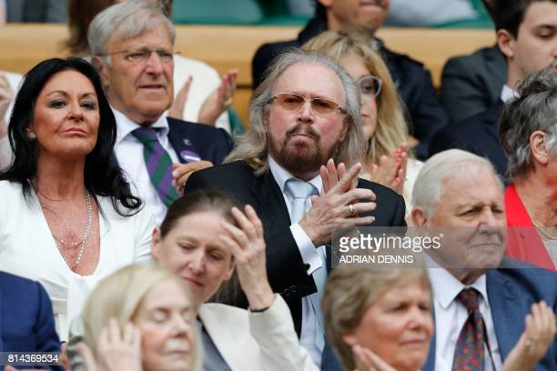Singer Barry Gibb sits in the Royal box on Centre Court for the men's semifinal matches on the eleventh day of the 2017 Wimbledon Championships at...