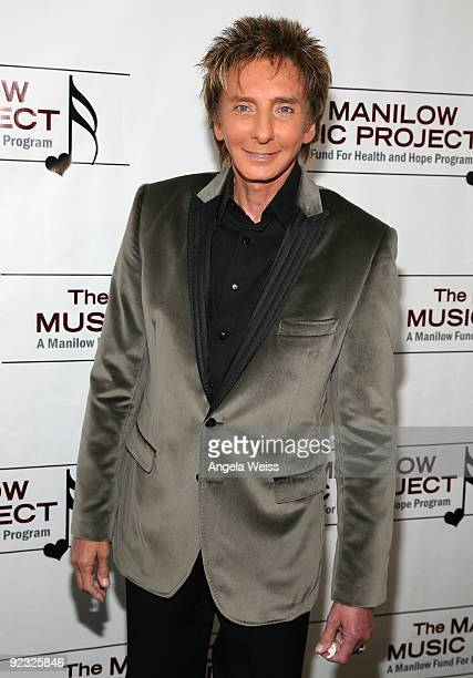 Singer Barry Manilow appears backstage at the Hollywood Bowl on October 24 2009 in Hollywood California