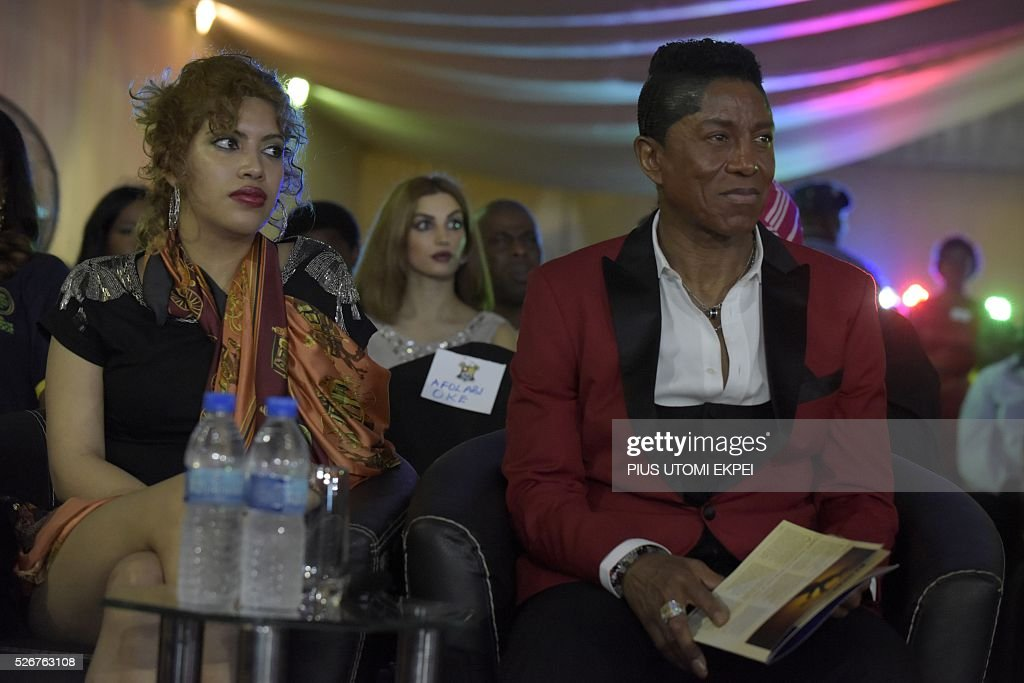 US singer, bass guitarist and composer Jermaine Jackson attends International Jazz Day in Lagos on April 30, 2016. Jazz enthusiasts gathered at the government house in Lagos, Nigeria's commercial capital to mark the International Jazz Day, a global event designed to highlight jazz, its roots, future, impact and its diplomatic role of uniting people across the world. / AFP / PIUS