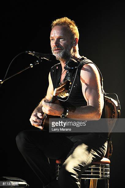 Singer / bassist Sting of The Police performs at the Cruzan Amphitheatre on May 17 2008 in West Palm Beach Florida