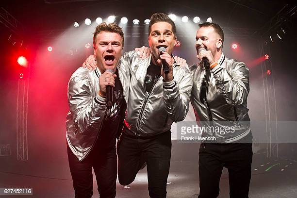 Singer Bastiaan Ragas Eloy de Jong and Lee Baxter of the band Caught in the Act perform live during a concert at the Postbahnhof on December 3 2016...
