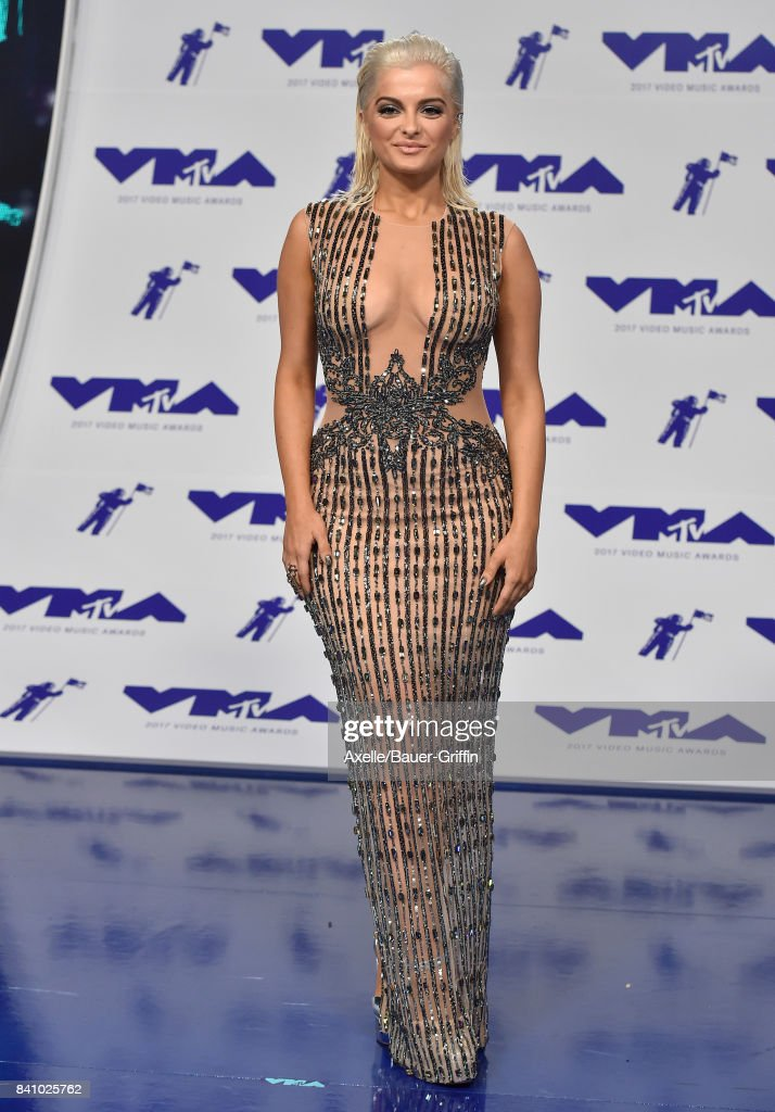 Singer Bebe Rexha arrives at the 2017 MTV Video Music Awards at The Forum on August 27, 2017 in Inglewood, California.