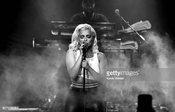 Singer Bebe Rexha performs onstage during iHeartRadio LIVE with Bebe Rexha presented by Forever 21 at iHeartRadio Theater on August 7 2017 in Burbank...